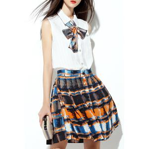 Mini Pleated Skirt with Bow Tie Blouse -