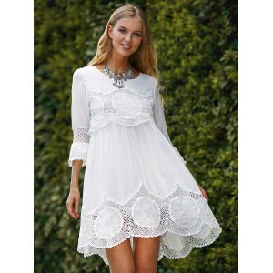 Fashionable Scoop Neck 3/4 Sleeve Lace Splicing Dress -
