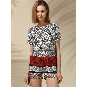 Ethnic Women's Jewel Neck Printed Crop Top and Shorts Set -