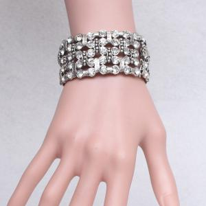 Multilayered Rhinestone Alloy Bracelet -