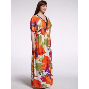 Stylish Plunging Neck Short Sleeve Floral Print Dress For Women -