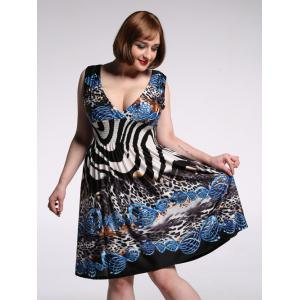 Alluring Plunging Neck Sleeveless Leopard Print Dress For Women - Colormix - 4xl