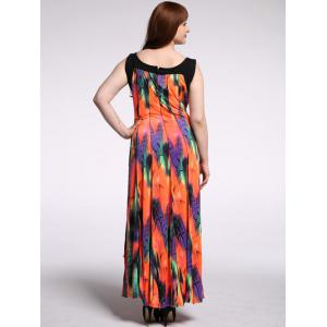 Robe maxi manches sans manches - Orange Rose 4XL