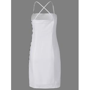 Fashionable Spaghetti Straps Fastener White Dress For Women - WHITE XL