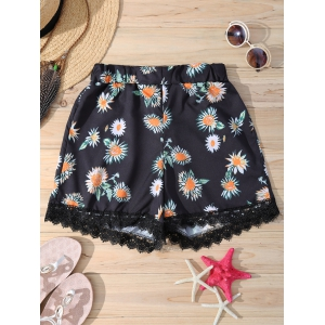 Stylish Elastic Waist Daisy Print Lace Trim Women's Shorts - Black - S