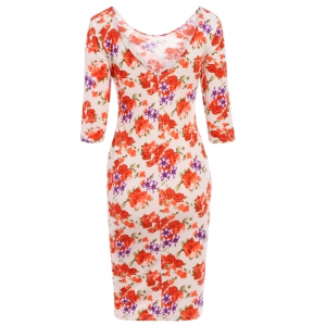 Simple Scoop Neck 3/4 Sleeve Floral Print Bodycon Women's Dress -