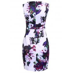 Vintage Sheathy Flowers Print Round Neck Sleeveless Women's Dress -
