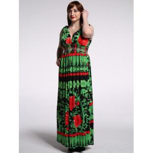 Fashionable Plunging Neck Sleeveless Back-V Floral Dress For Women -