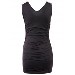 Stylish V-Neck Beaded Dress For Women -