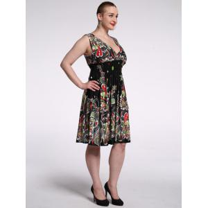 Plunging Neck High Waist Floral Cocktail Dress -