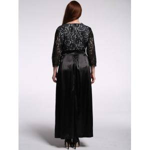 Plus Size Lace Panel Maxi Formal Dress with Sleeves -