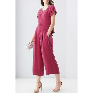 Disassembling Solid Color T-Shirt and High Waist Pants Suit -
