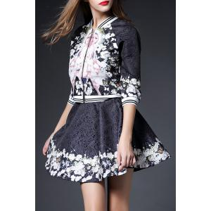 Jacquard Flare Skirt with Floral Jacket -