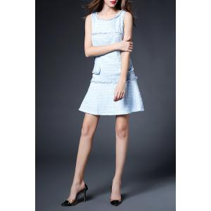 Solid Color Button Embellished Twinset Dress -