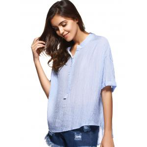 Brief Style Band Collar Wavy Striped Loose-Fitting Blouse For Women -