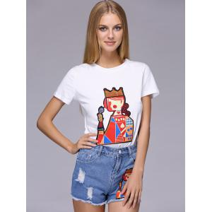 Chic Playing Card Patch Design T-Shirt + Broken Hole Shorts Women's Twinset -