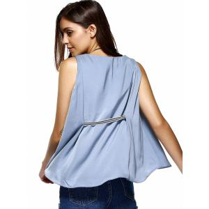 Sweet V-Neck Patchwork Asymmetric Tank Top For Women -