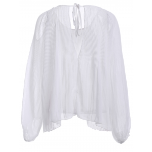 Stylish Scoop Neck Tie Cut Out Long Sleeves Chiffon Blouse For Women -