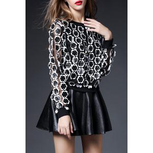3D Floral Sheer Top with Mini Skirt -