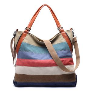 Casual Strip and Canvas Design Tote Bag For Women -