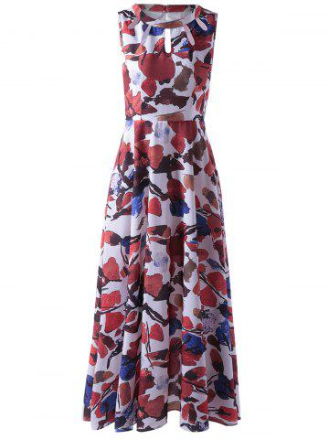 Shops Fashionable Sleeveless Abstract Printed Cut Out Pleated Maxi Dress For Women COLORMIX XL