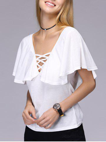 Store Stylish Short Sleeve Hollow Out Backless T-Shirt For Women