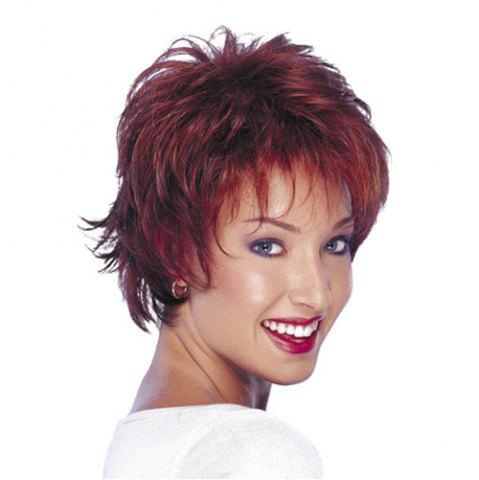 Discount Fluffy Short Layered Cut Straight Synthetic Trendy Wine Red Capless Wig For Women