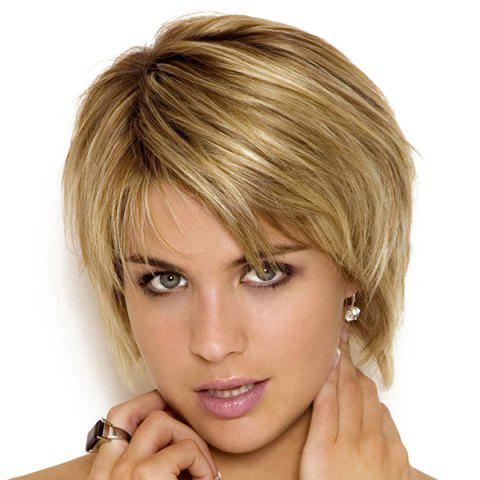Trendy Stylish Blended Color Short Layered Cut Synthetic Straight Capless Wig For Women