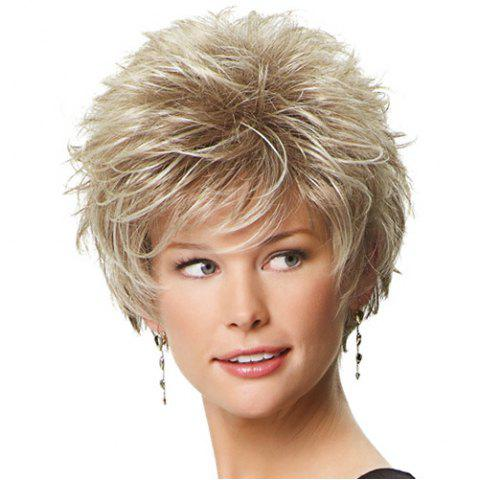 Online Graceful Off-White Mixed Synthetic Fluffy Short Layered Cut Straight Capless Wig For Women