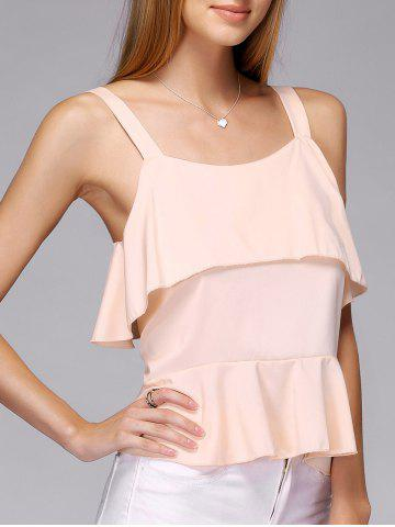 Latest Frilled Layered Tank Top PINK L
