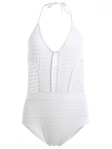 Buy Attractive Halter Backless Openwork One-Piece Swimsuit For Women WHITE S