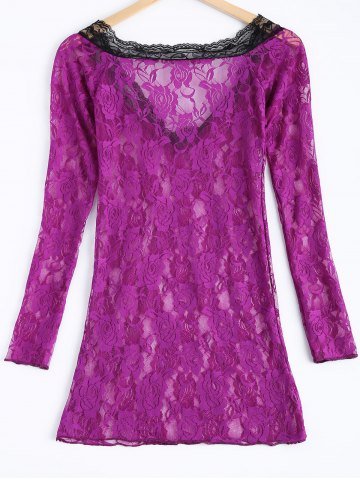 Store Sexy Lace Plunging Neck Long Sleeve Spliced Women's Babydoll - ONE SIZE VIOLET Mobile