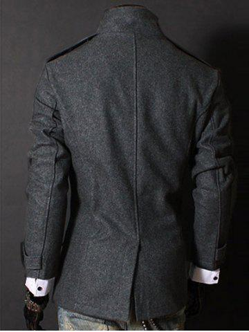 Discount Fashion Stand Collar Double Breasted Long Sleeves Woolen Windbreaker For Men - M GRAY Mobile