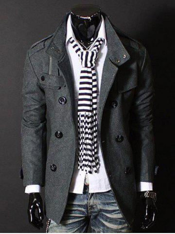 Online Fashion Stand Collar Double Breasted Long Sleeves Woolen Windbreaker For Men GRAY M
