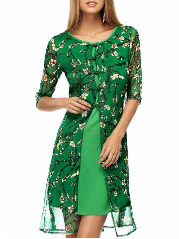 Latest Plate Buttons Printed Flowing Silk Dress GREEN XL