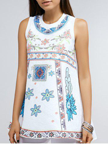 Cheap Stylish Round Neck Loose Fitting Floral Print Tank Top For Women