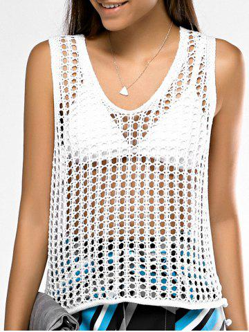 Sale Attractive Scoop Neck Hollow Out Crochet Tank Top For Women