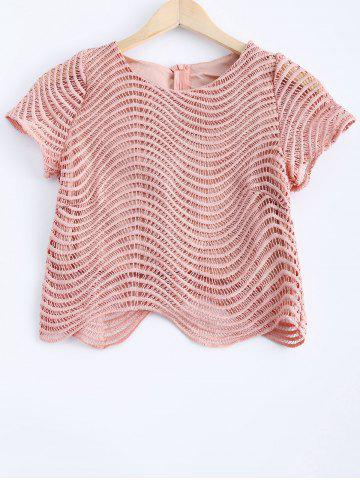 Online Fashionable Lace Round Neck Openwork Top For Women