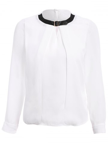 Shops Stylish PU Collar Long Sleeve Hollow Out Blouse For Women WHITE M