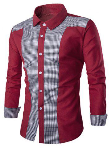 Discount Elegant Plaid Spliced Color Block Turn-down Collar Long Sleeves Shirt For Men - 2XL WINE RED Mobile