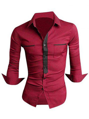 Unique Classic Color Block Button Fly Double Pockets Shirt Collar Long Sleeves Shirt For Men - L DARK RED Mobile