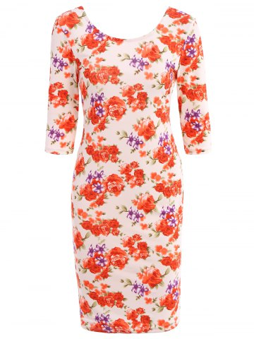 Hot Simple Scoop Neck 3/4 Sleeve Floral Print Bodycon Women's Dress