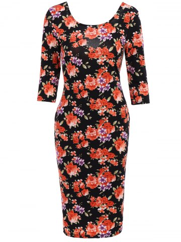Affordable Simple Scoop Neck 3/4 Sleeve Floral Print Bodycon Women's Dress