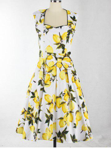 Fancy Sweetheart Neck Lemon Pattern Bowknot Midi Dress