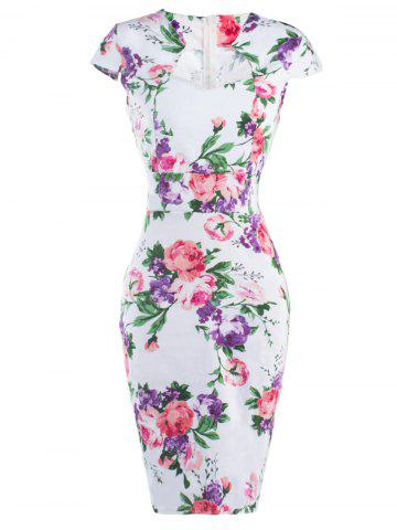 Buy Floral Cheongsam Midi Bodycon Dress RED WITH WHITE S