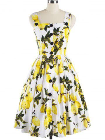 Discount Single-Breasted Lemon Pattern Pleated Zipper Design Dress