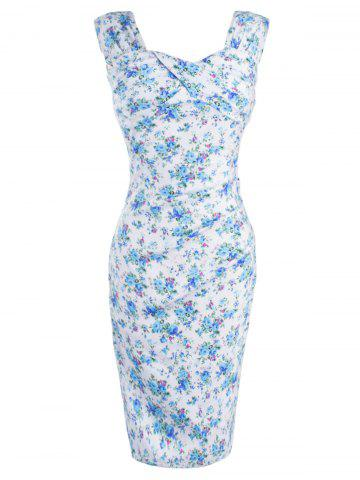 Chic Retro Style Tiny Floral Print Bodycon Dress