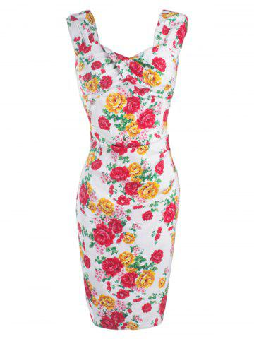 Latest CheongSam Style Floral Print Concealed Zipper Dress RED 2XL