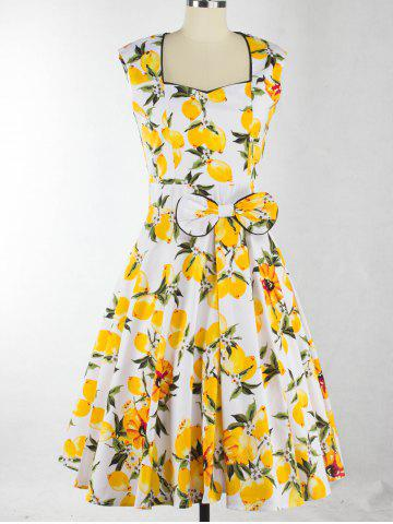 Sale Lemon Print Bowknot Design Zippered Dress
