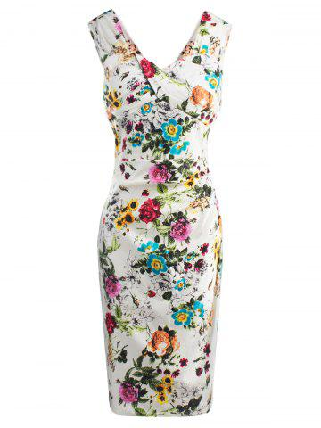 Trendy Floral Print Waisted Zipper V Neck Midi Bodycon Dress WHITE S